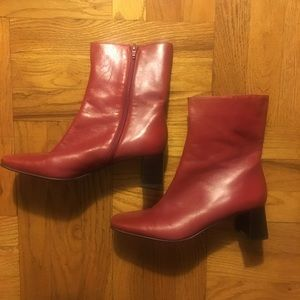 Red Leather Etienne Aigner Booties